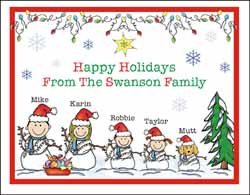 Personalized Family Stick Figure Christmas Cards and Chanukah Cards
