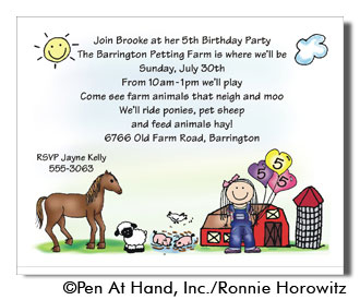 farm theme personalized party invitations by the personal note