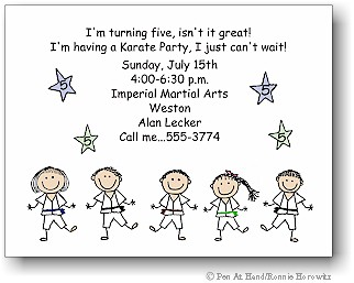 Karate Theme Personalized Party Invitations By The