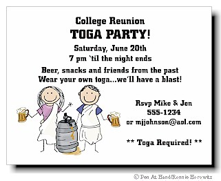 Toga party personalized party invitations by the personal note use toga party invitations stopboris Choice Image