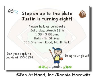 baseball theme personalized party invitations by the personal note