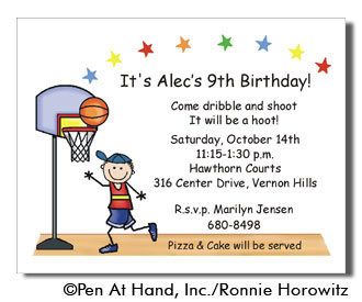 Basketball Theme Personalized Party Invitations By The Personal