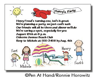 Beach party personalized party invitations by the personal note party invitation stopboris Gallery