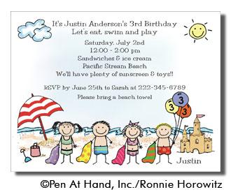 InvBeachMixed beach theme personalized party invitations by the personal note,Beach Theme Party Invitations