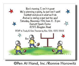 Football Theme Personalized Party Invitations By The