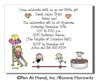 Gymboree theme personalized party invitations by the personal note party invitation filmwisefo Choice Image