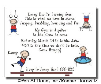 Gymnastics theme personalized party invitations by the personal party invitation stopboris Choice Image