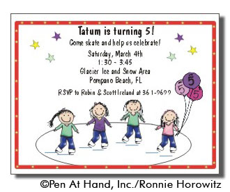 Ice skating theme personalized party invitations by the personal party invitation stopboris Choice Image