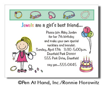 Jewelry theme personalized party invitations by the personal note party invitation stopboris Gallery