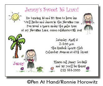 Luau theme personalized party invitations by the personal note party invitation stopboris Choice Image