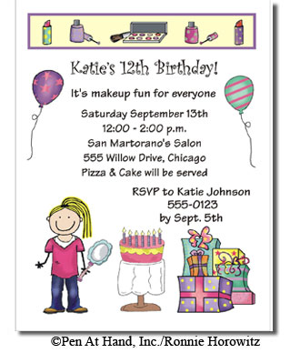 Make up theme personalized party invitations by the personal note party invitation filmwisefo