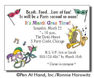 Mardigras personalized party invitations by the personal note use party invitation stopboris Gallery