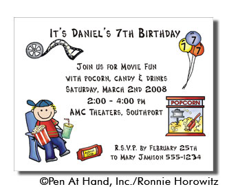 Movie theme personalized party invitations by the personal note party invitation stopboris Choice Image
