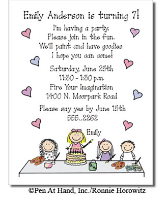 Painting Party Personalized Party Invitations by The Personal Note