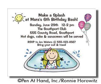 Pool theme personalized party invitations by the personal note party invitation stopboris Choice Image