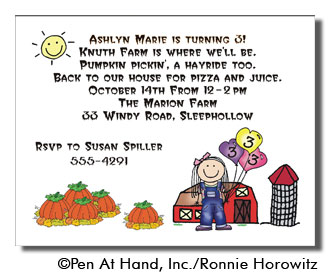 Pumpkin Farm Personalized Party Invitations by The Personal Note
