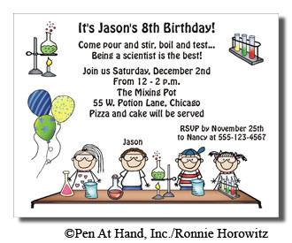 Science Theme Personalized Party Invitations by The Personal