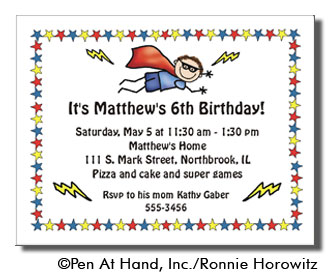 Superhero theme personalized party invitations by the personal party invitation stopboris Choice Image