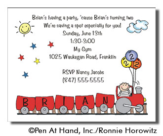 train theme  personalized party invitations by the personal note, Party invitations