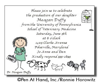 Vet Graduation Personalized Party Invitations by The Personal Note