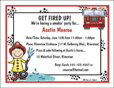 Fireman Theme Personalized Party Invitations by The Personal – Fireman Party Invitations