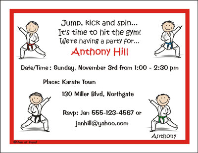 Karate Theme Personalized Party Invitations by The Personal Note – Karate Party Invitations