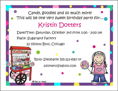 Candy Theme Personalized Party Invitations by The Personal Note