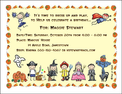 Costume theme personalized party invitations by the personal note party invitation filmwisefo