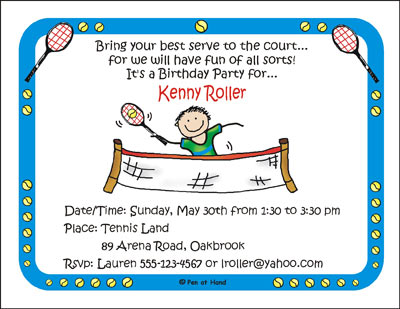 Tennis theme personalized party invitations by the personal note party invitation filmwisefo