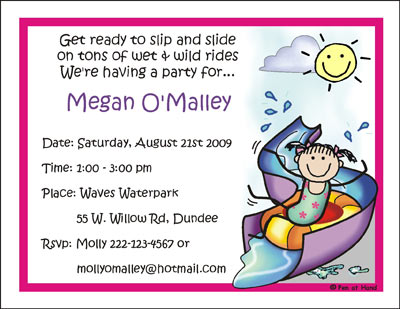 Water Park Personalized Party Invitations by The Personal Note – Water Park Party Invitations