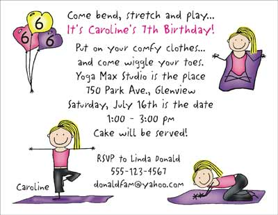 Yoga Party Personalized Party Invitations by The Personal Note