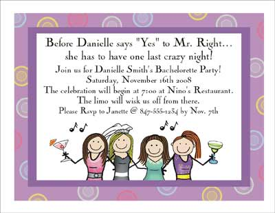 Bachelorette personalized party invitations by the personal note party invitation stopboris Gallery