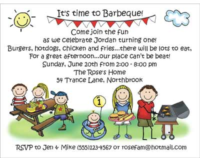barbeque theme personalized party invitations by the personal note