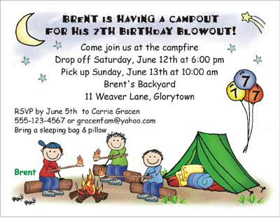 Campout theme personalized party invitations by the personal note party invitation filmwisefo