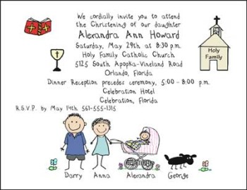 christening personalized party invitations by the personal note