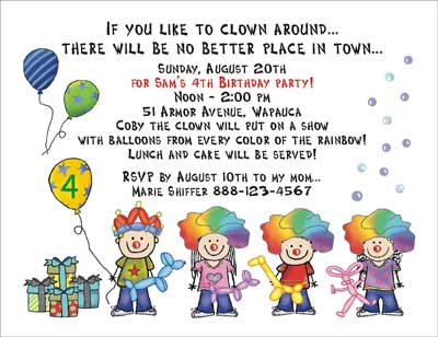 clown theme personalized party invitations by the personal note