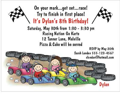 Go Kart Theme Personalized Party Invitations by The Personal Note