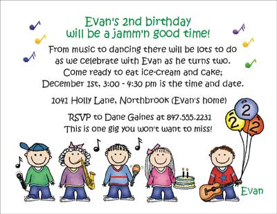 Music theme personalized party invitations by the personal note party invitation stopboris Choice Image