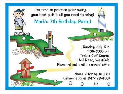 Mini golf theme personalized party invitations by the personal party invitation filmwisefo