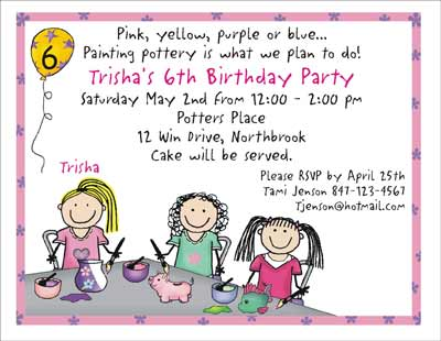Pottery Theme Personalized Party Invitations by The Personal – Custom Party Invitation