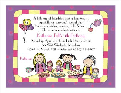 Tea Party Theme Personalized Party Invitations by The Personal – Kids Tea Party Invitations