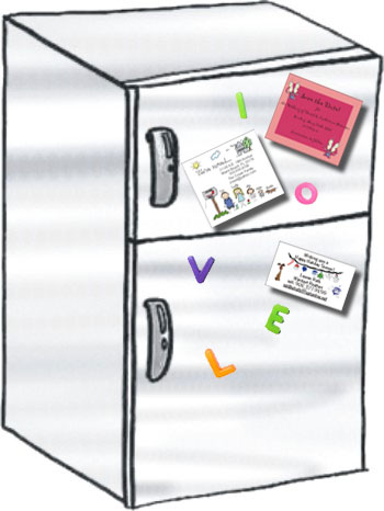 drawing of a refrigerator with a note on it